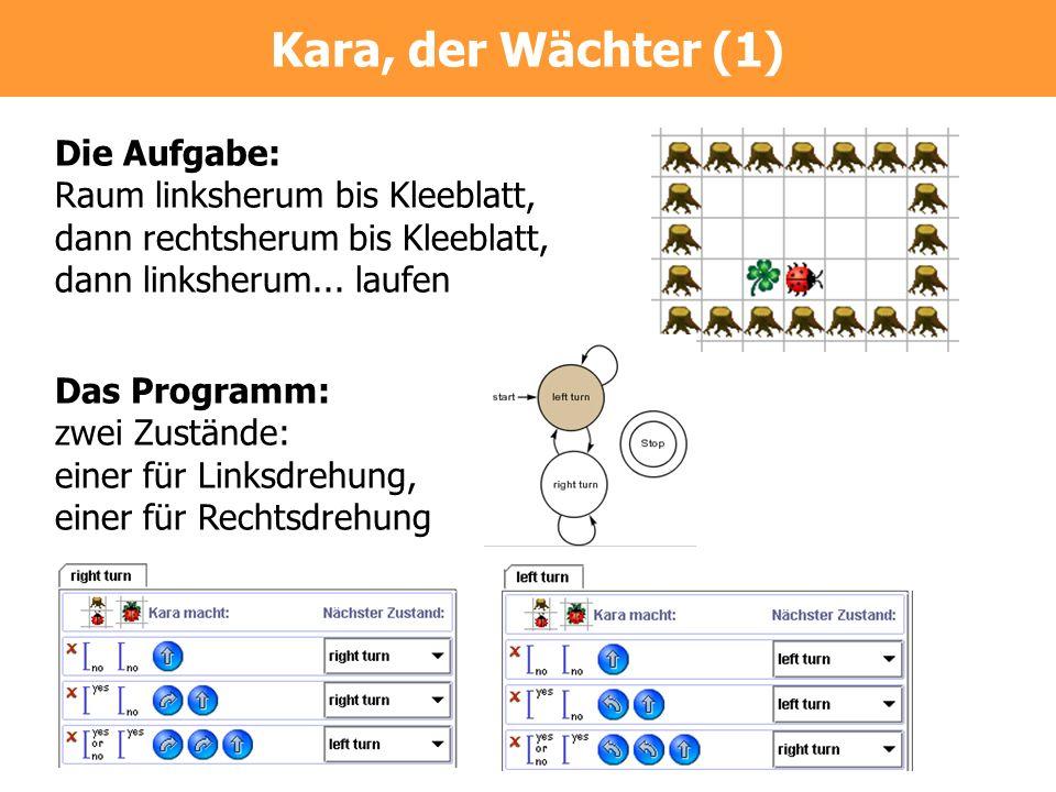 Kara, der Wächter (1) Die Aufgabe: Raum linksherum bis Kleeblatt,
