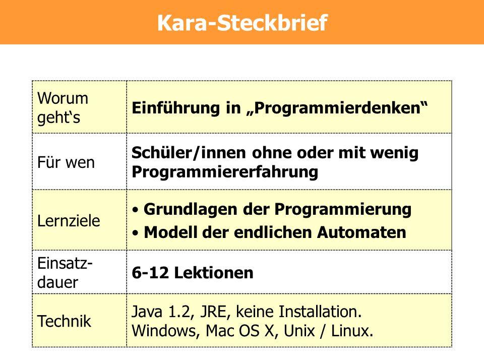 """Kara-Steckbrief Worum geht's Einführung in """"Programmierdenken"""