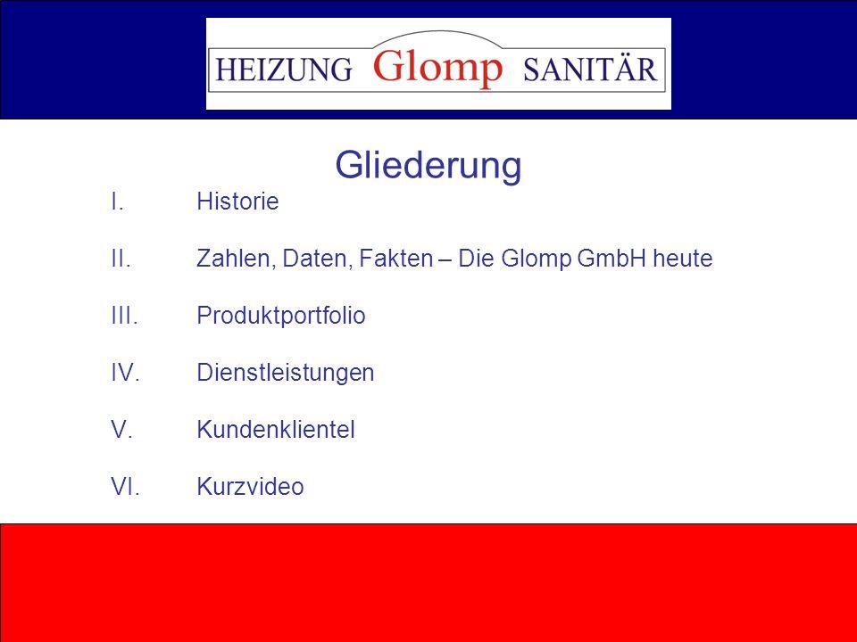 Gliederung I. Historie. II. Zahlen, Daten, Fakten – Die Glomp GmbH heute. III. Produktportfolio.