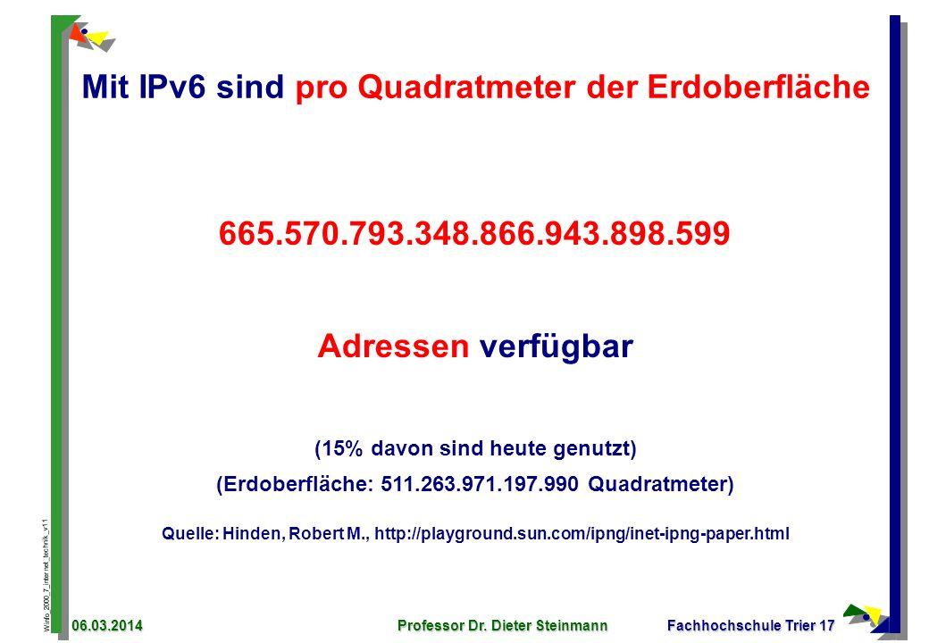 Mit IPv6 sind pro Quadratmeter der Erdoberfläche