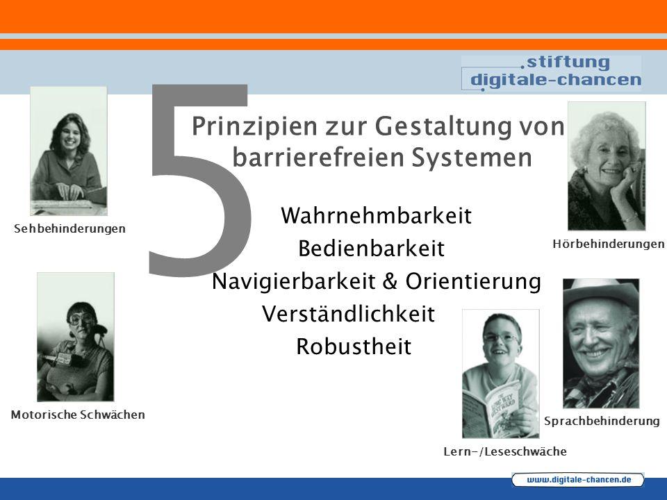 Prinzipien zur Gestaltung von barrierefreien Systemen