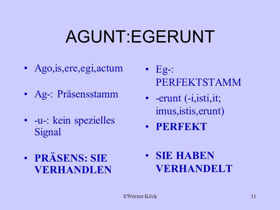 AGUNT:EGERUNT Ago,is,ere,egi,actum Ag-: Präsensstamm