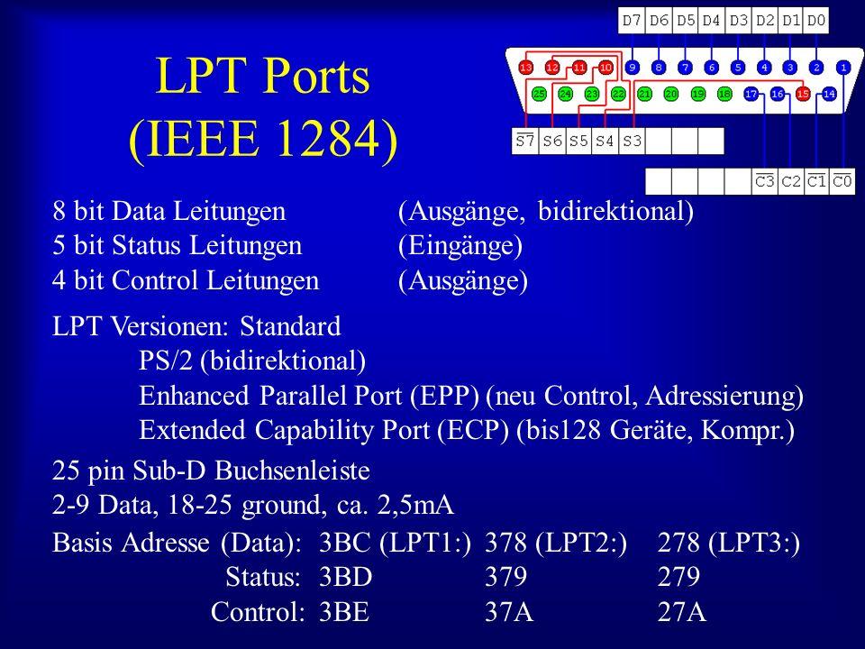 LPT Ports (IEEE 1284) 8 bit Data Leitungen (Ausgänge, bidirektional)