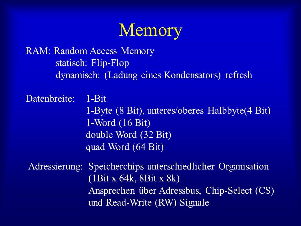 Memory RAM: Random Access Memory statisch: Flip-Flop