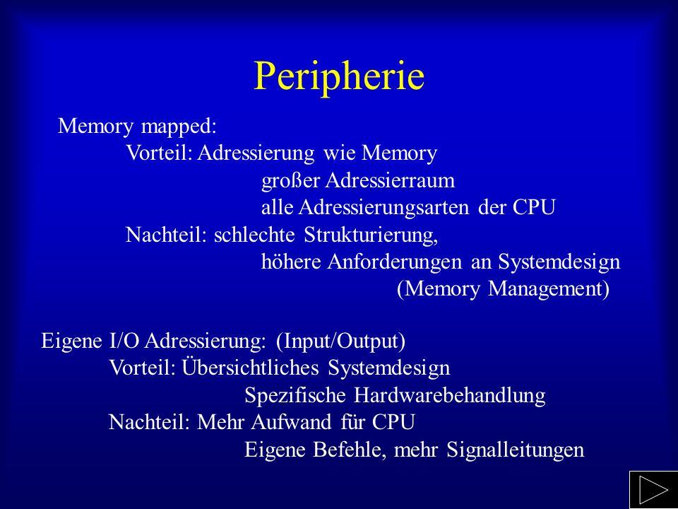 Peripherie Memory mapped: Vorteil: Adressierung wie Memory