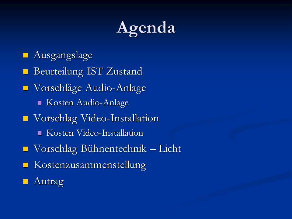 Agenda Ausgangslage Beurteilung IST Zustand Vorschläge Audio-Anlage