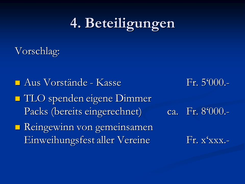 4. Beteiligungen Vorschlag: Aus Vorstände - Kasse Fr. 5'000.-