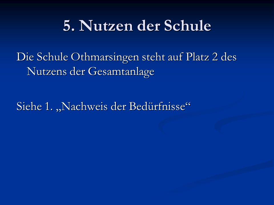 5. Nutzen der Schule Die Schule Othmarsingen steht auf Platz 2 des Nutzens der Gesamtanlage.