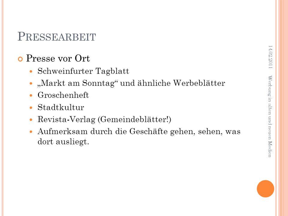 Pressearbeit Presse vor Ort Schweinfurter Tagblatt
