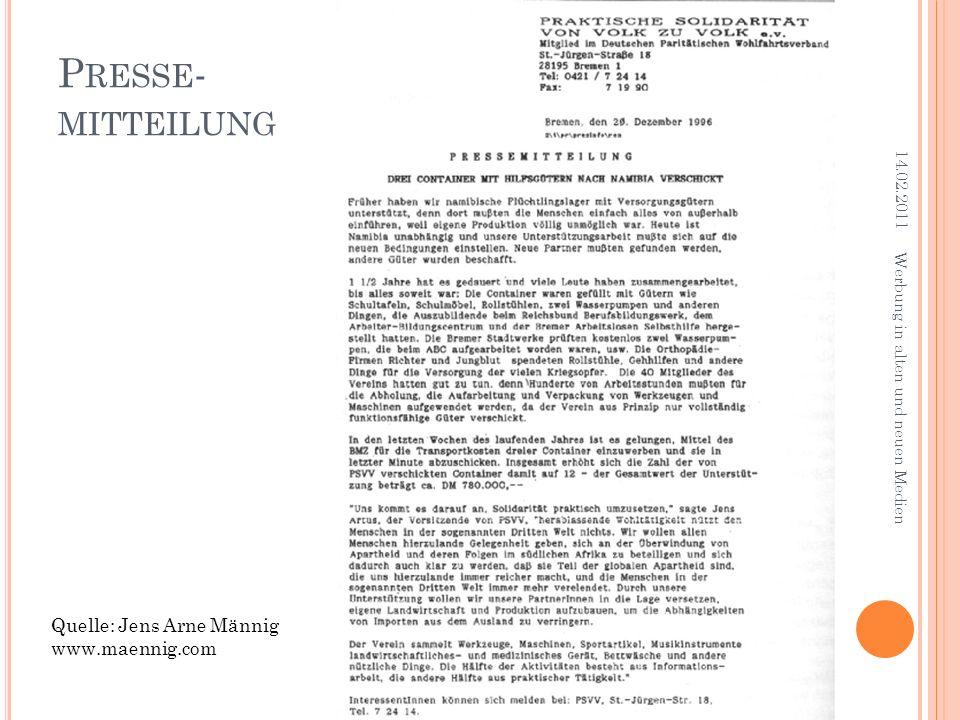 Presse- mitteilung Quelle: Jens Arne Männig www.maennig.com 14.02.2011