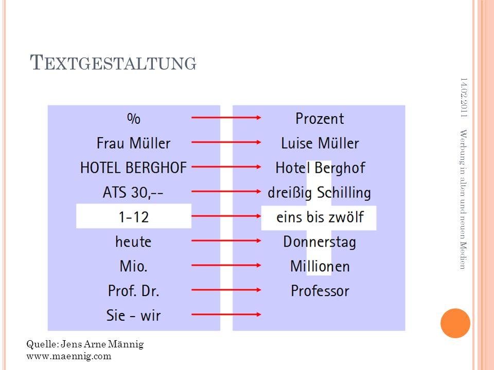 Textgestaltung Quelle: Jens Arne Männig www.maennig.com 14.02.2011