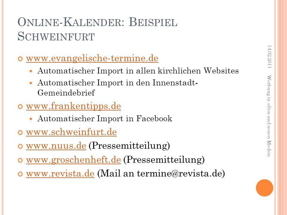 Online-Kalender: Beispiel Schweinfurt
