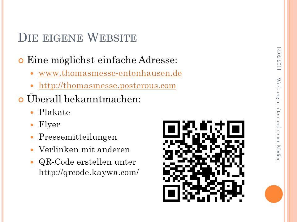 Die eigene Website Eine möglichst einfache Adresse: