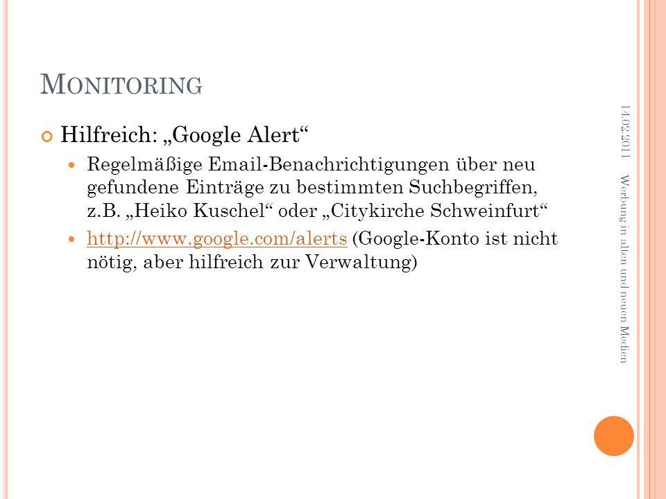 """Monitoring Hilfreich: """"Google Alert"""