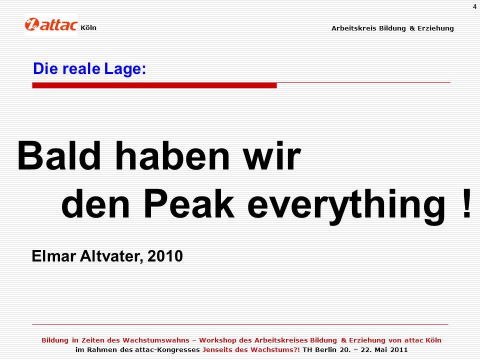 Bald haben wir den Peak everything ! Die reale Lage: