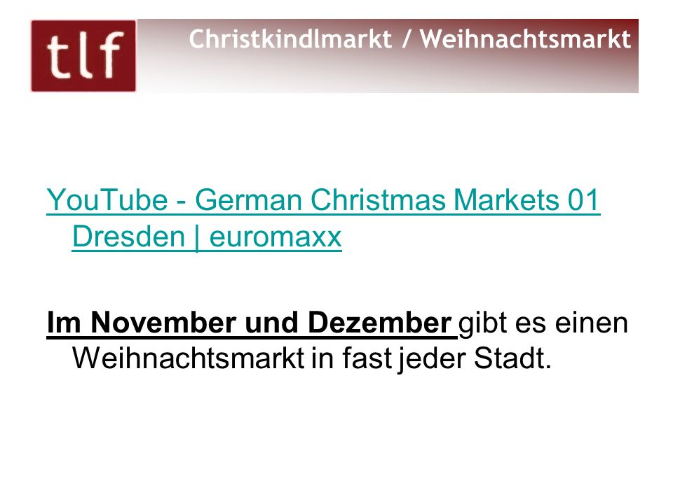 YouTube - German Christmas Markets 01 Dresden | euromaxx