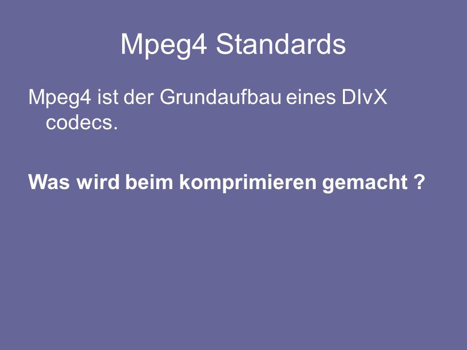 Mpeg4 Standards Mpeg4 ist der Grundaufbau eines DIvX codecs.