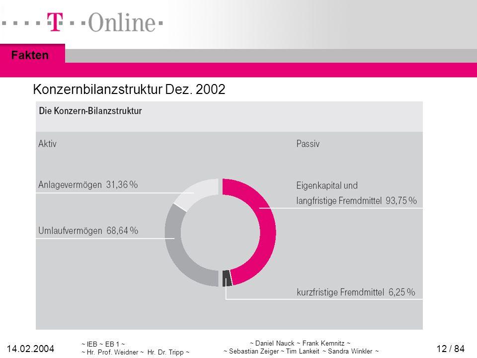 Konzernbilanzstruktur Dez. 2002