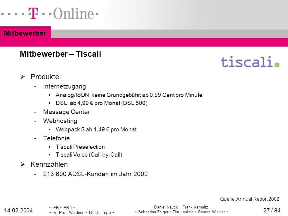 Mitbewerber – Tiscali Mitbewerber Produkte: Kennzahlen Internetzugang