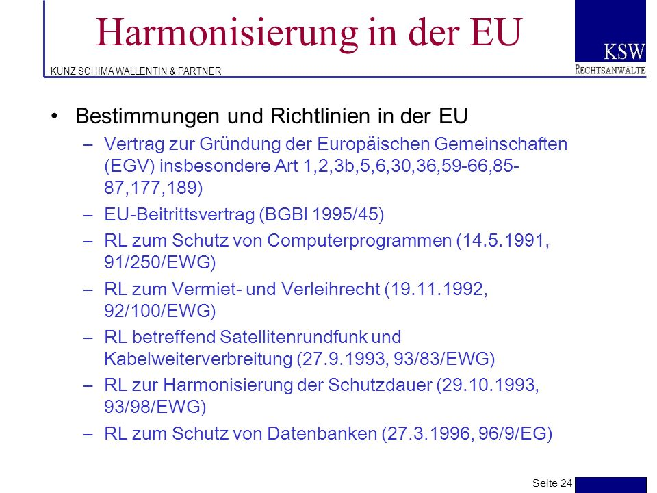 Harmonisierung in der EU
