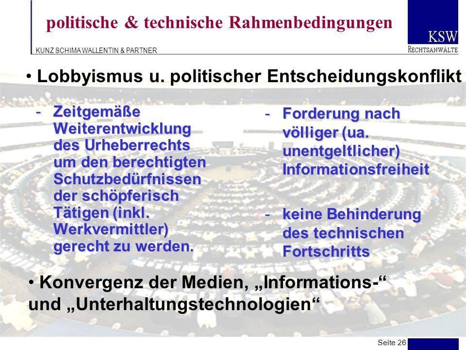politische & technische Rahmenbedingungen