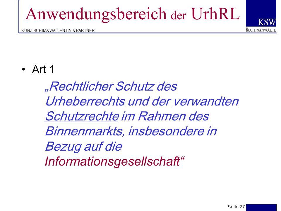 Anwendungsbereich der UrhRL