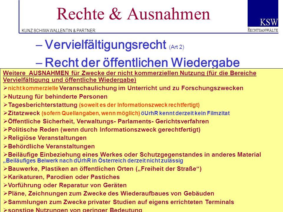 Rechte & Ausnahmen Vervielfältigungsrecht (Art 2)