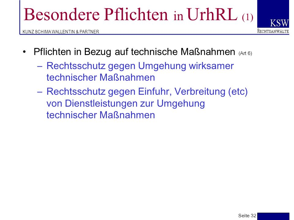 Besondere Pflichten in UrhRL (1)