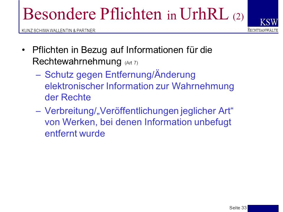 Besondere Pflichten in UrhRL (2)