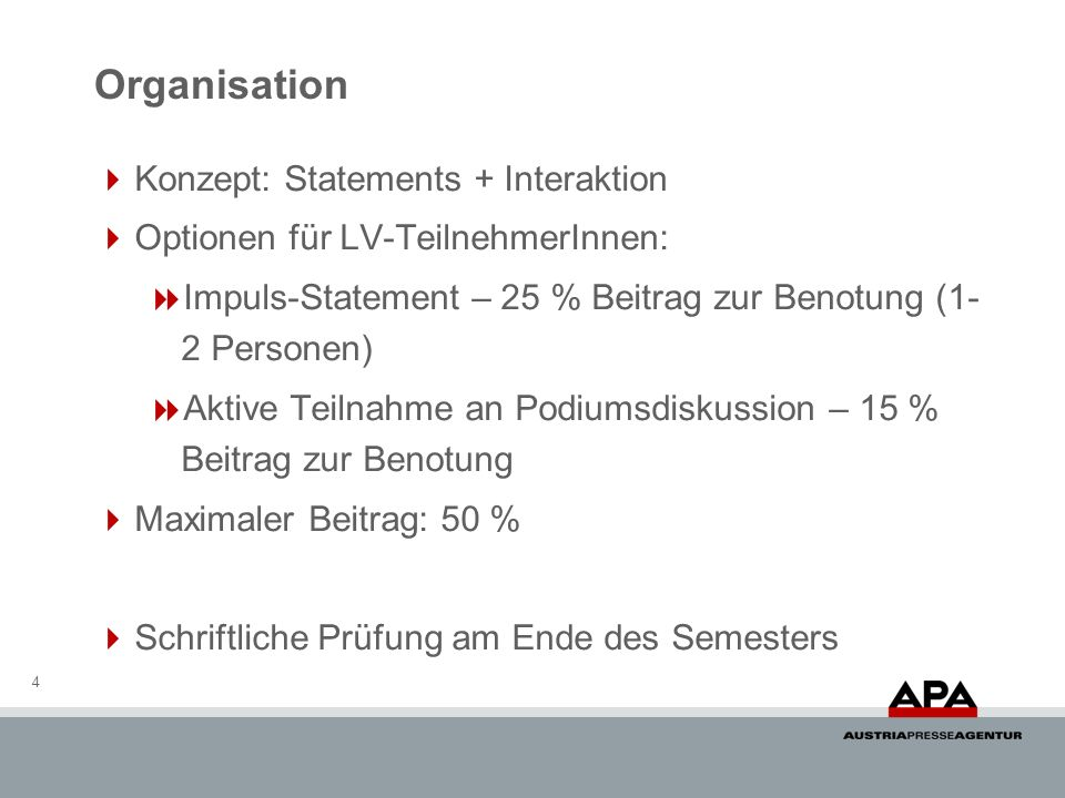 Organisation Konzept: Statements + Interaktion