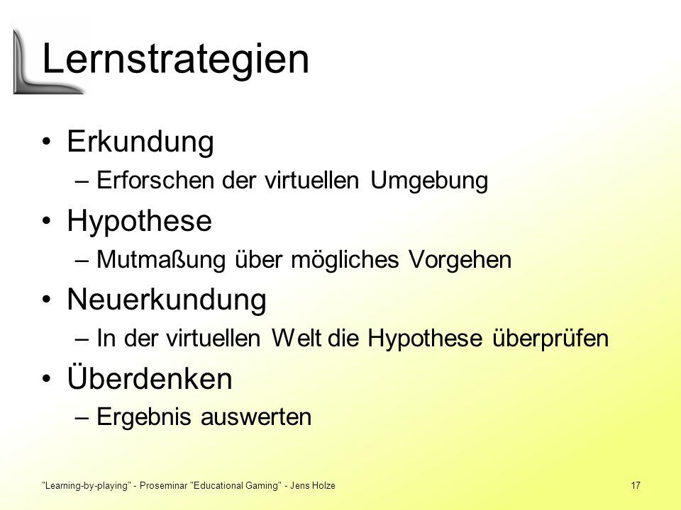 Lernstrategien Erkundung Hypothese Neuerkundung Überdenken