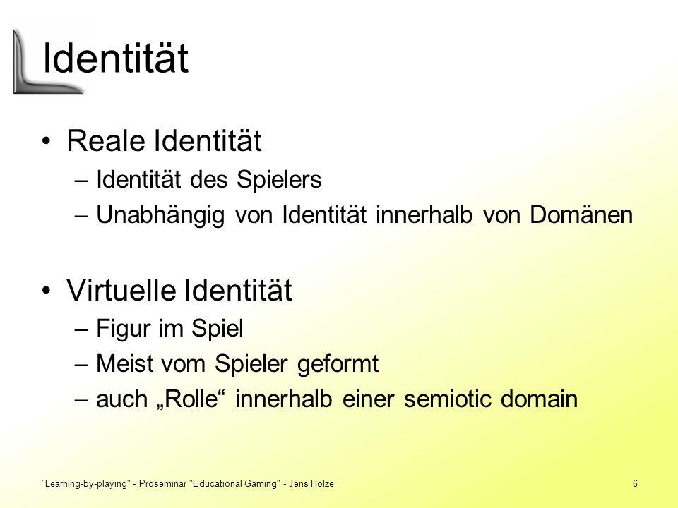 Identität Reale Identität Virtuelle Identität Identität des Spielers