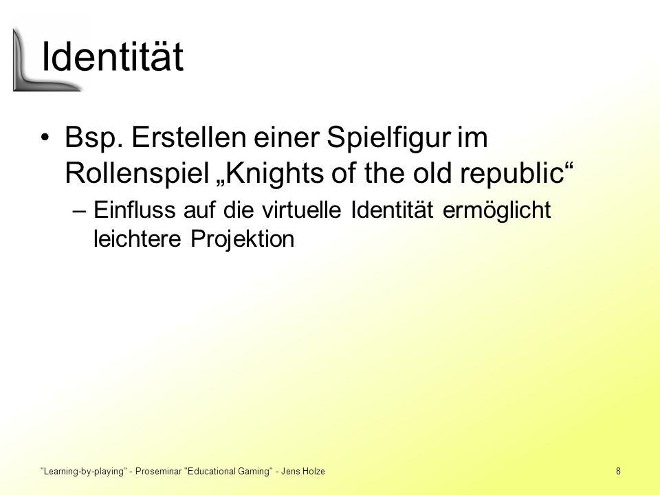 """Identität Bsp. Erstellen einer Spielfigur im Rollenspiel """"Knights of the old republic"""