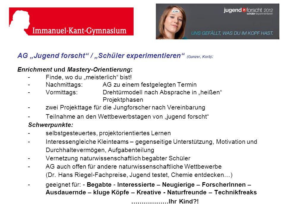 """AG """"Jugend forscht / """"Schüler experimentieren (Gunzer, Korb):"""