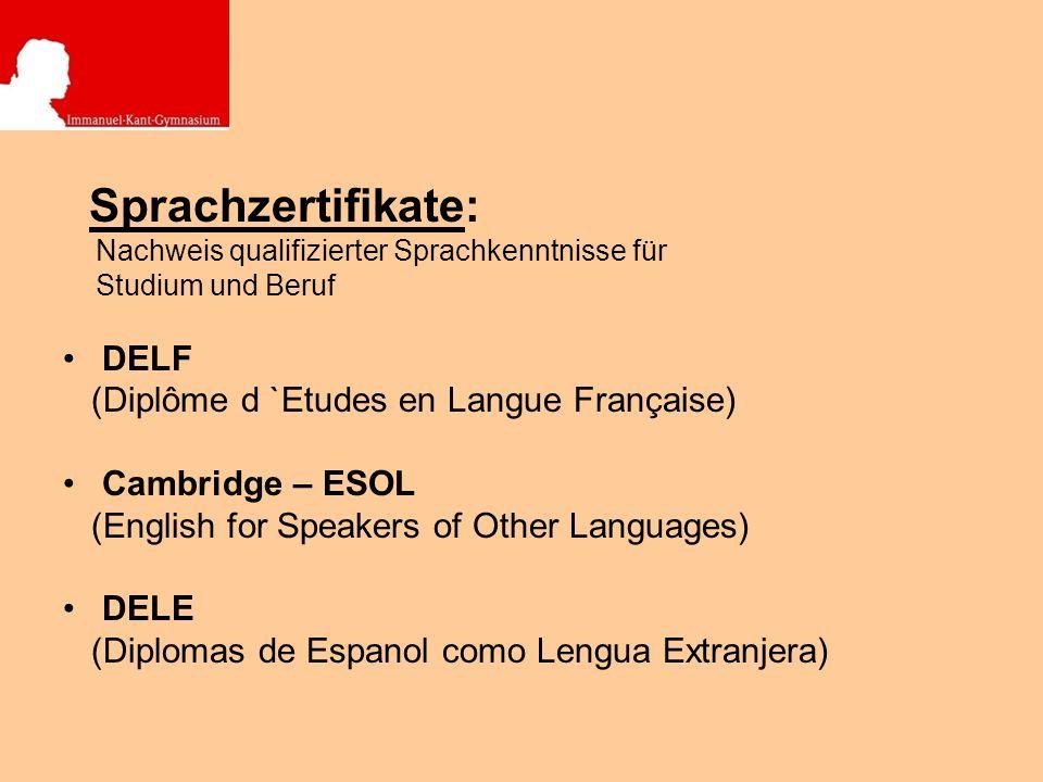 Sprachzertifikate: DELF (Diplôme d `Etudes en Langue Française)