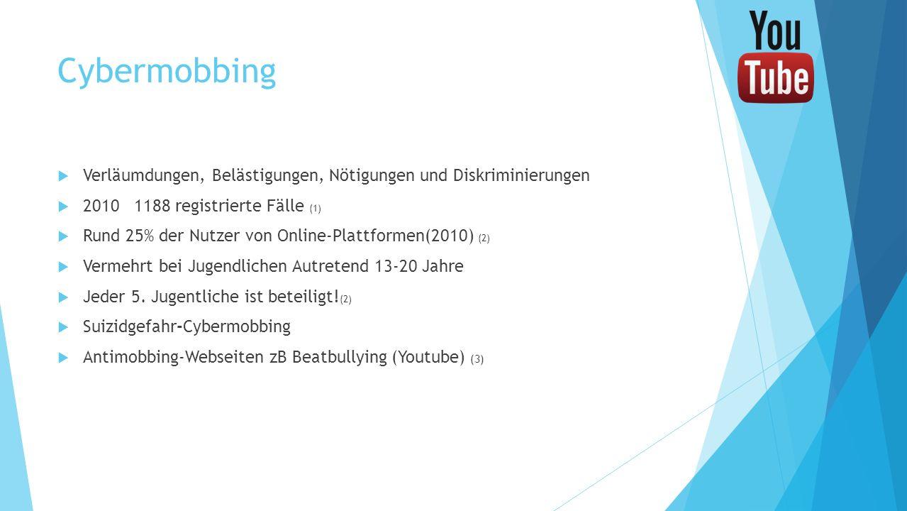 Cybermobbing Verläumdungen, Belästigungen, Nötigungen und Diskriminierungen. 2010 1188 registrierte Fälle (1)