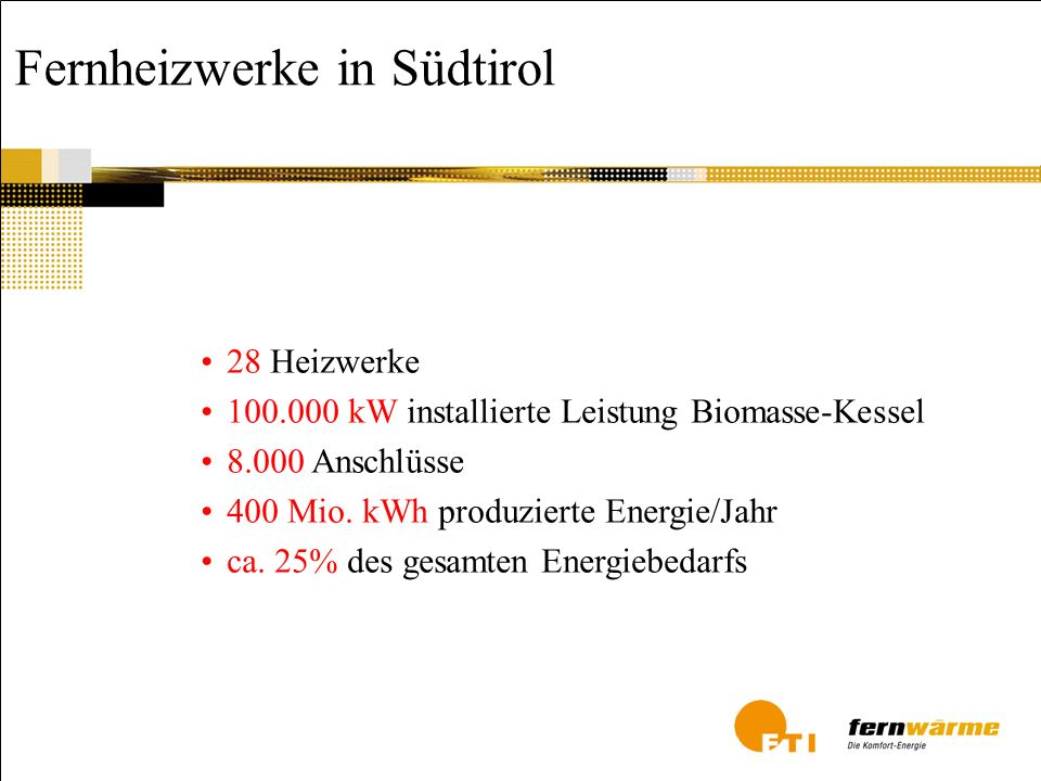 Fernheizwerke in Südtirol