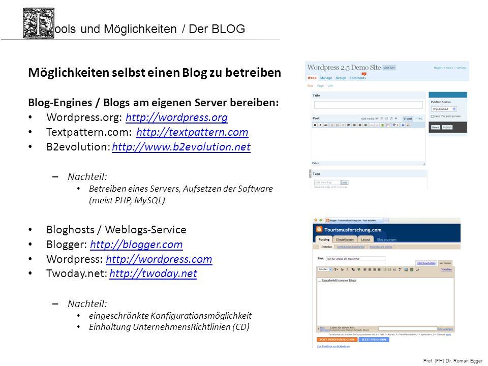 Möglichkeiten selbst einen Blog zu betreiben