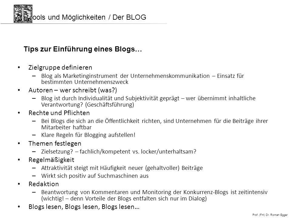 ools und Möglichkeiten / Der BLOG
