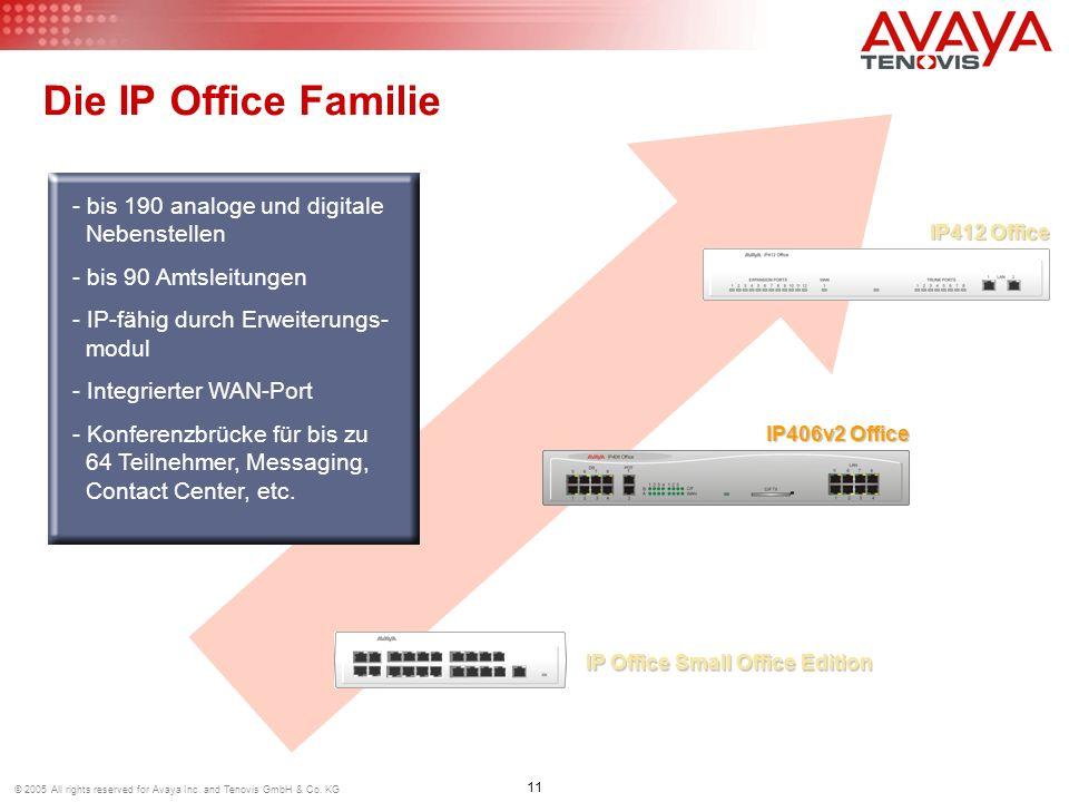 Die IP Office Familie bis 190 analoge und digitale Nebenstellen