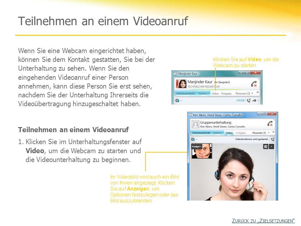 Teilnehmen an einem Videoanruf