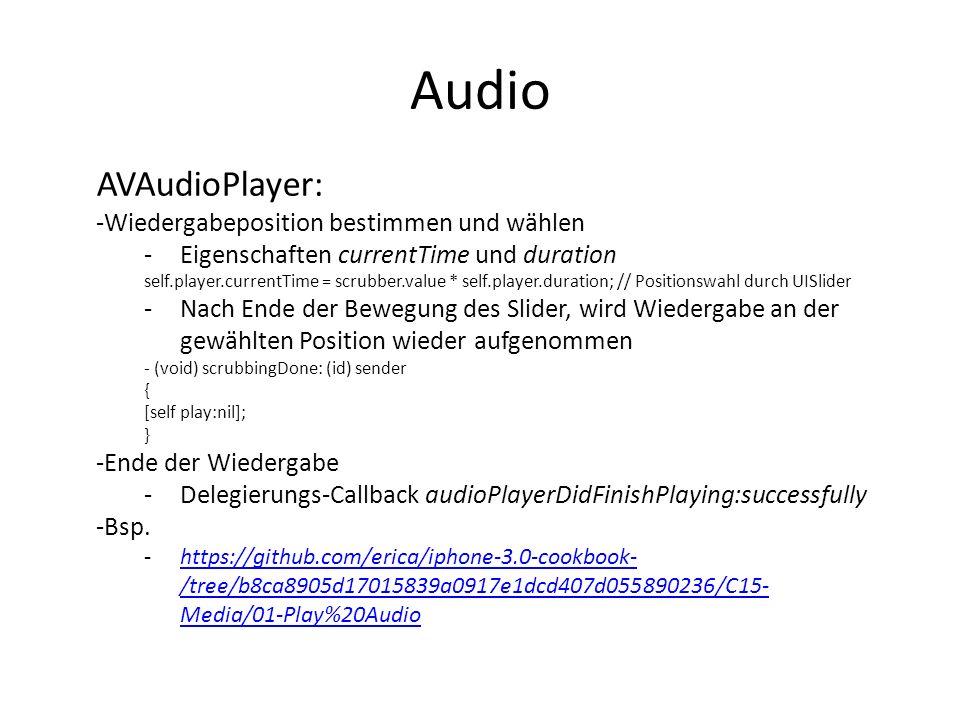 Audio AVAudioPlayer: Wiedergabeposition bestimmen und wählen