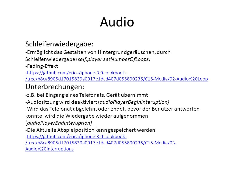 Audio Schleifenwiedergabe: Unterbrechungen: