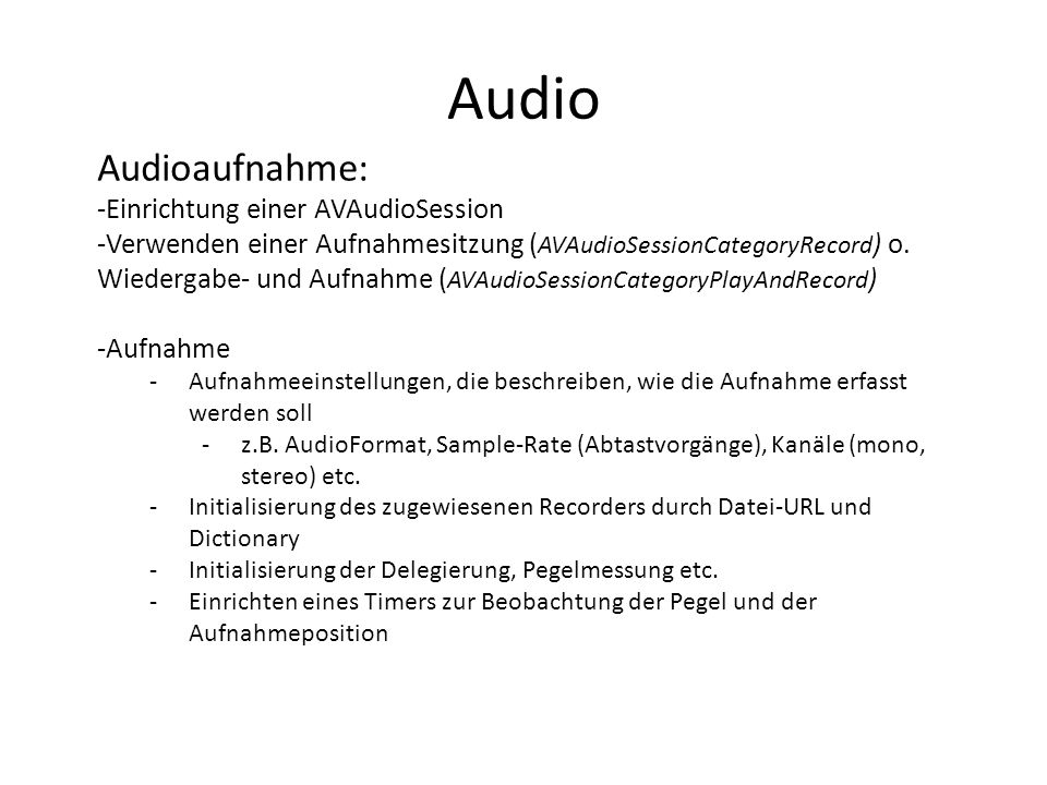 Audio Audioaufnahme: Einrichtung einer AVAudioSession