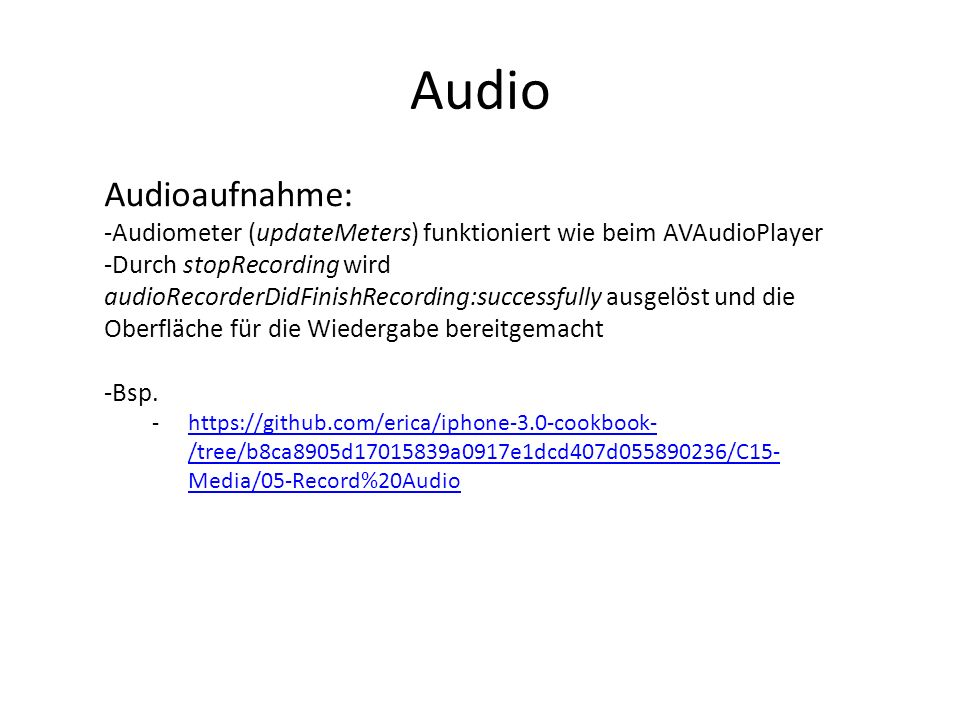 Audio Audioaufnahme: Audiometer (updateMeters) funktioniert wie beim AVAudioPlayer.