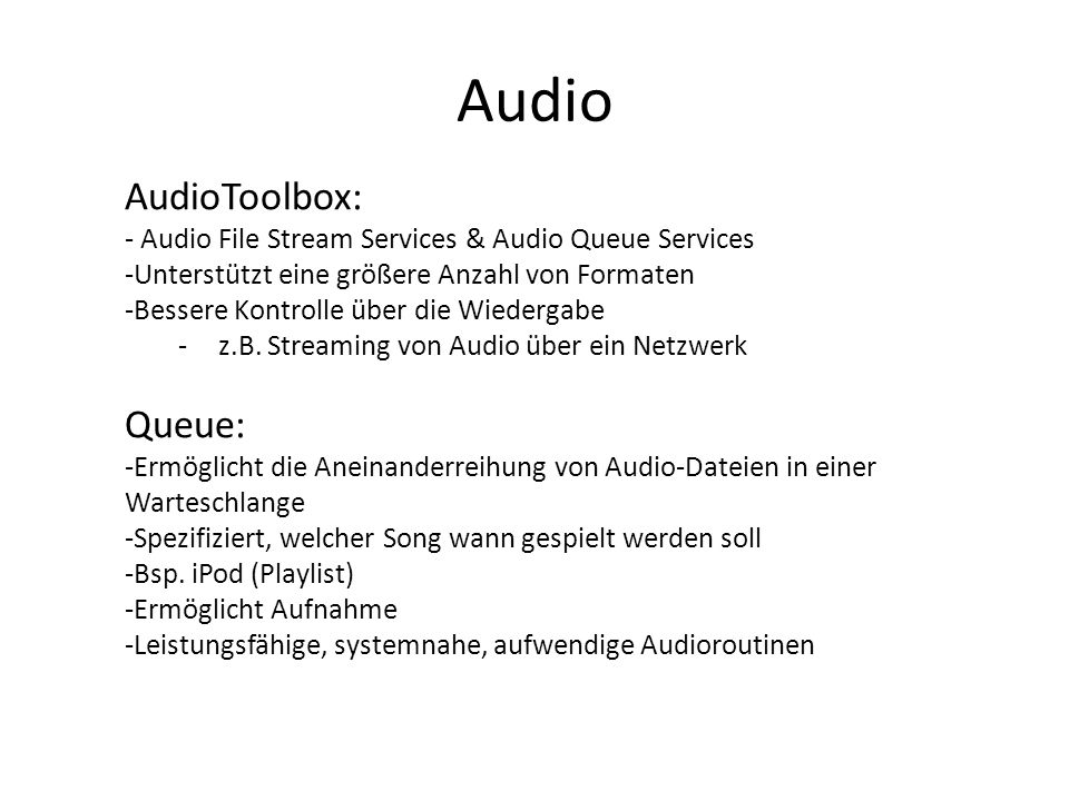 Audio AudioToolbox: Queue: