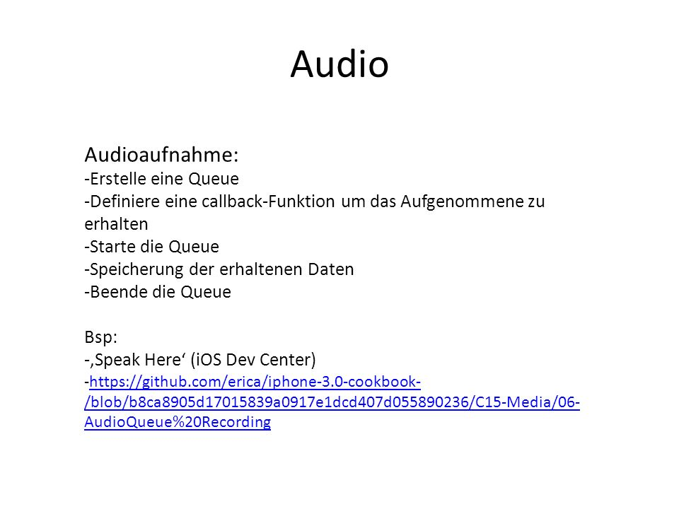 Audio Audioaufnahme: Erstelle eine Queue