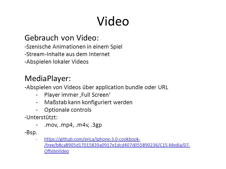 Video Gebrauch von Video: MediaPlayer: