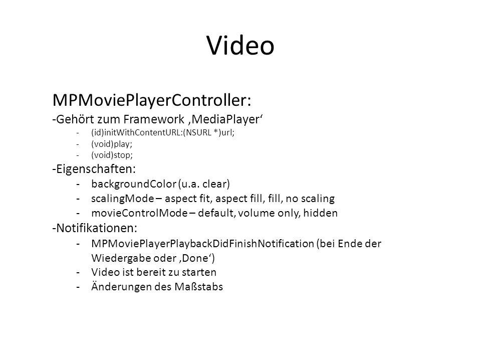 Video MPMoviePlayerController: Gehört zum Framework 'MediaPlayer'