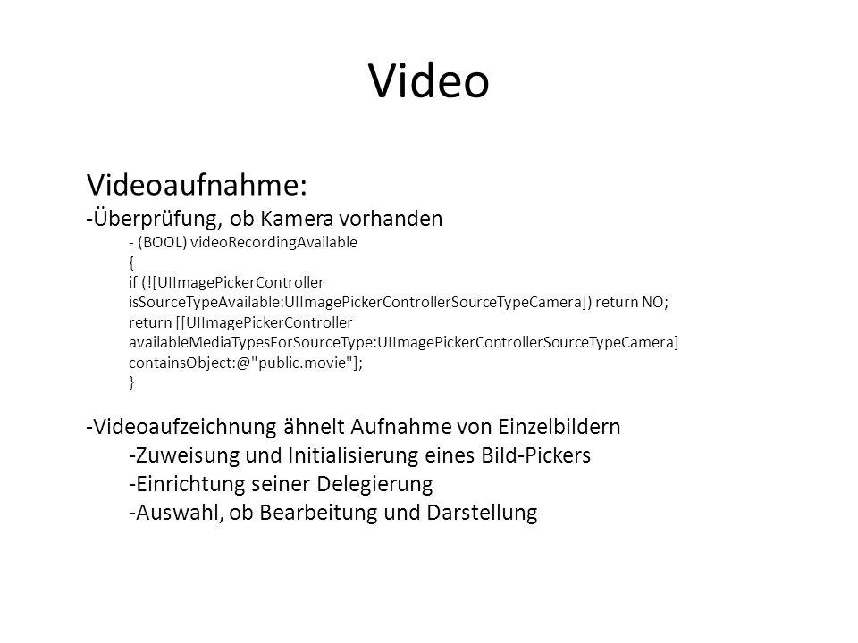 Video Videoaufnahme: Überprüfung, ob Kamera vorhanden